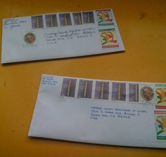 Stamps to mail a letter